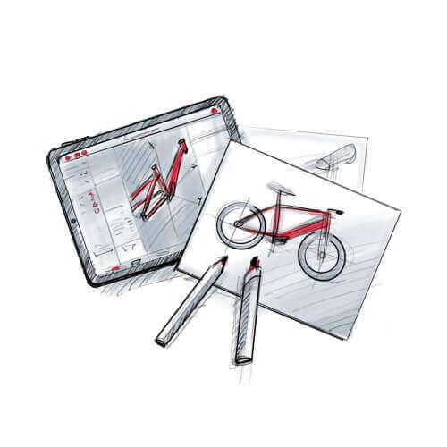 Illustration de la conception des cadres de vélos électriques
